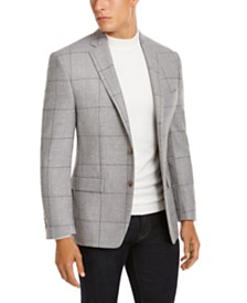 Lauren Ralph Lauren Men's Classic-Fit UltraFlex Stretch Light Gray Windowpane Sport Coat