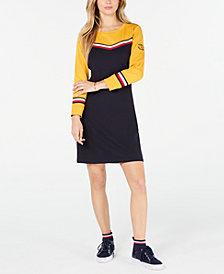Tommy Hilfiger Striped-Trim Cotton Sweatshirt Dress, Created for Macy's