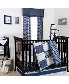 The Peanutshell Navy & Grey Geo Patch 3-Piece Crib Bedding Set