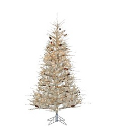7Ft. Frosted Sage Hard Needle Slim Tree with Pinecones and 400 clear lights