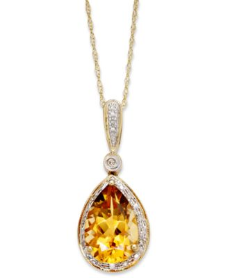 Citrine (2-1/2 ct. t.w.) and Diamond Accent Pear Pendant Necklace in 14k Gold