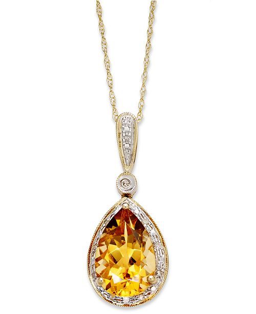 Macy's Citrine (2-1/2 ct. t.w.) and Diamond Accent Pear Pendant Necklace in 14k Gold