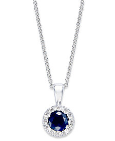 Gemma by EFFY Sapphire (3/8 ct. t.w.) and Diamond (1/4 ct. t.w.) Pendant in 14k White Gold, Created for Macy's