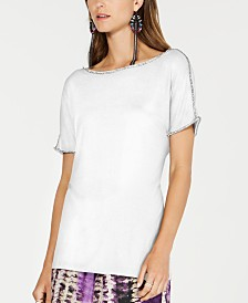 I.N.C. Short-Sleeve Jewel-Embellished Top, Created for Macy's