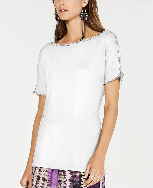 INC International Concepts INC Short-Sleeve Jewel-Embellished Top, Created for Macy's