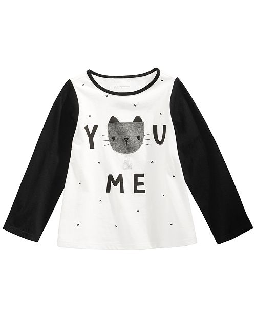 First Impressions Baby Girls Colorblocked Cat T-Shirt, Created for Macy's