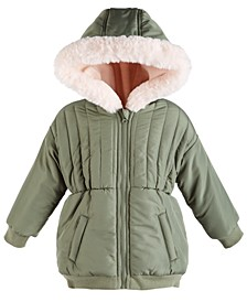 Toddler Girls Hooded Jacket With Faux-Fur Trim, Created For Macy's