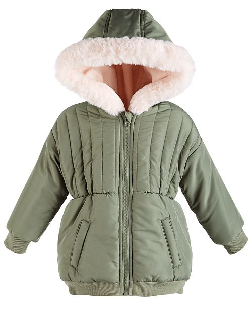 First Impressions Baby Girls Fur Trim Parka, Created for Macy's