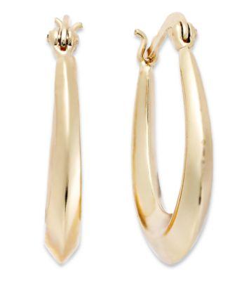 18k Gold over Sterling Silver Earrings, Tapered Hoop Earrings