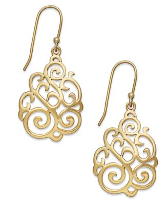 18k Gold over Sterling Silver Earrings, Filigree Teardrop Earrings