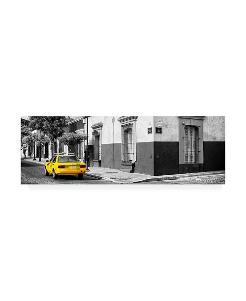 "Trademark Global Philippe Hugonnard Viva Mexico 2 Colorful Mexican Street with Yellow Taxi III Canvas Art - 36.5"" x 48"""