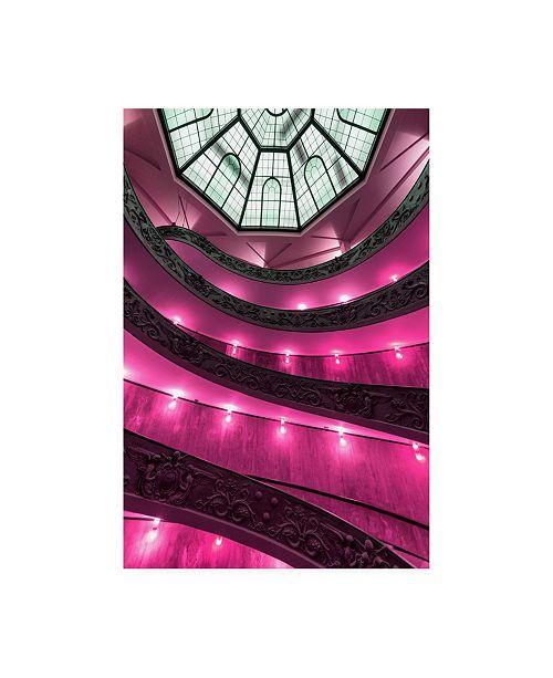 "Trademark Global Philippe Hugonnard Dolce Vita Rome Pink Vatican Staircase Canvas Art - 19.5"" x 26"""