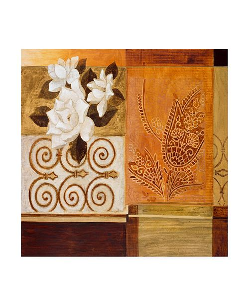 "Trademark Global Pablo Esteban Floral Collage on Orange Canvas Art - 19.5"" x 26"""