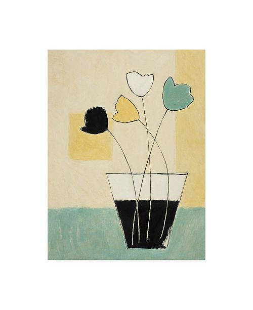 "Trademark Global Pablo Esteban Four Flowers in Black and White Vase Canvas Art - 15.5"" x 21"""
