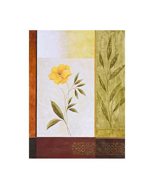 "Trademark Global Pablo Esteban Orange Flower with Leaves Canvas Art - 19.5"" x 26"""