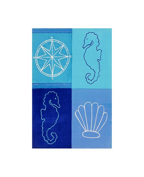 "Trademark Global Pablo Esteban Nautical Quadrants in Blue Canvas Art - 36.5"" x 48"""