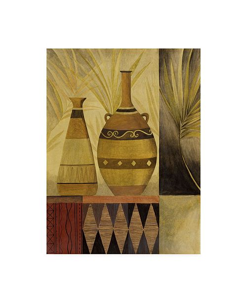 """Trademark Global Pablo Esteban Two Vases with Greenery Canvas Art - 36.5"""" x 48"""""""