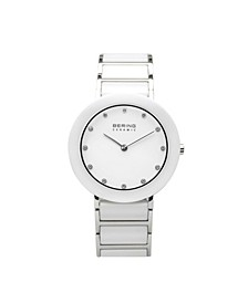Ladies Ceramic Bezel and Smooth Link Watch