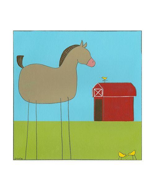 "Trademark Global June Erica Vess Stick leg Horse I Childrens Art Canvas Art - 19.5"" x 26"""