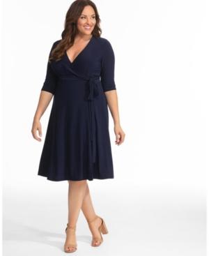 Kiyonna Womens Plus Size Essential Wrap Dress