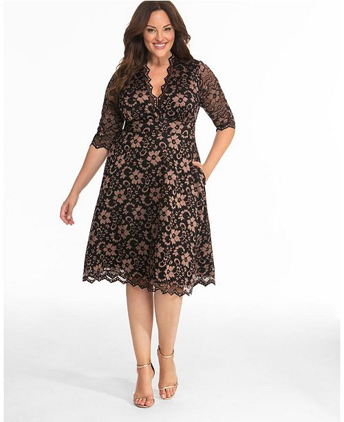Women\'s Plus Size Mon Cherie Lace Dress