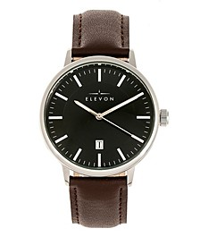 Men's Vin Genuine Leather Strap Watch 42mm