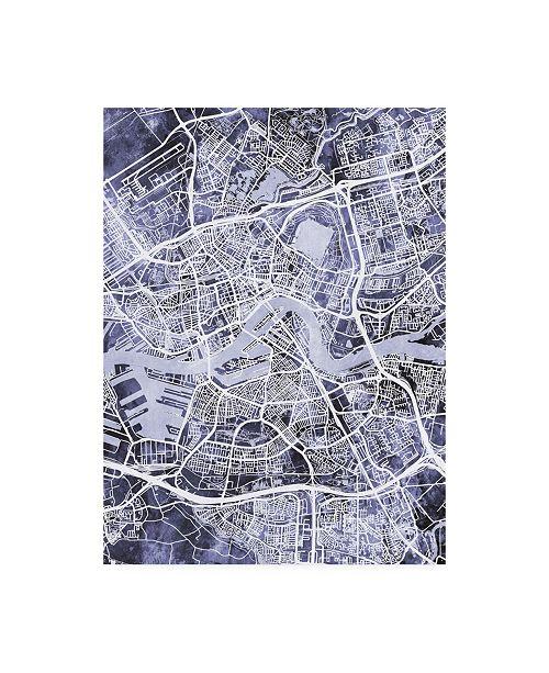 """Trademark Global Michael Tompsett Rotterdam Netherlands City Map Blue Canvas Art - 15.5"""" x 21"""""""