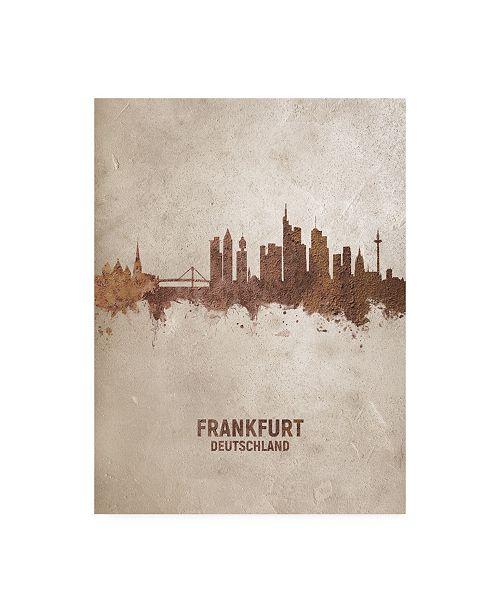 "Trademark Global Michael Tompsett Frankfurt Germany Rust Skyline Canvas Art - 15.5"" x 21"""