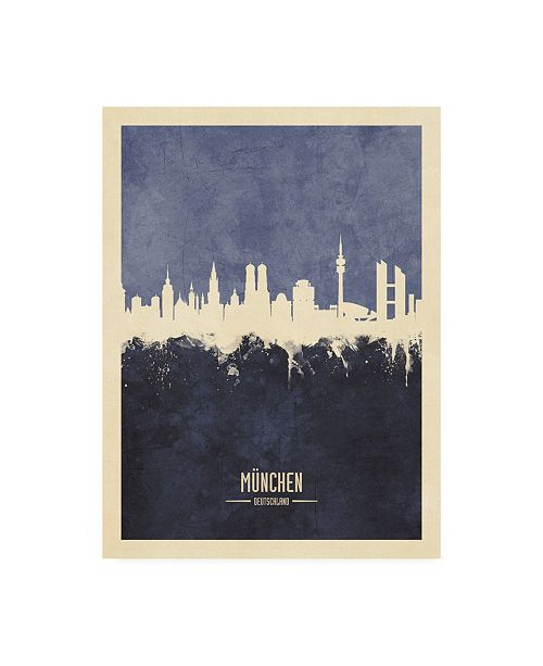 "Trademark Global Michael Tompsett Munich Germany Skyline Navy Canvas Art - 15.5"" x 21"""