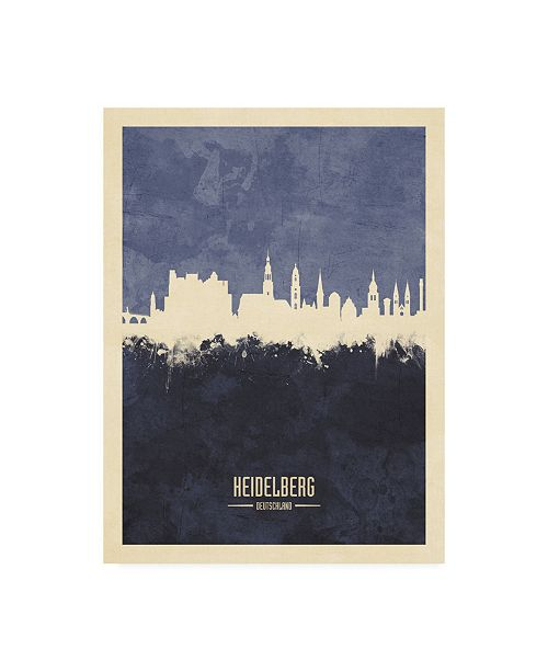 "Trademark Global Michael Tompsett Heidelberg Germany Skyline Navy Canvas Art - 15.5"" x 21"""