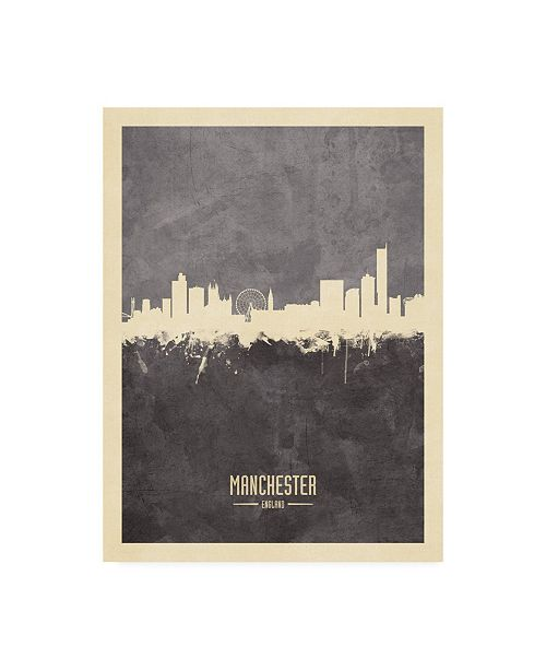 "Trademark Global Michael Tompsett Manchester England Skyline Gray Canvas Art - 27"" x 33.5"""