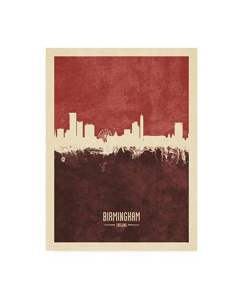 "Trademark Global Michael Tompsett Birmingham England Skyline Red II Canvas Art - 27"" x 33.5"""