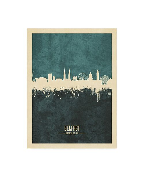 "Trademark Global Michael Tompsett Belfast Northern Ireland Skyline Teal Canvas Art - 27"" x 33.5"""