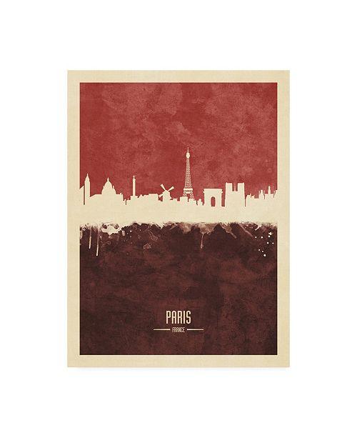 "Trademark Global Michael Tompsett Paris France Skyline Red II Canvas Art - 27"" x 33.5"""