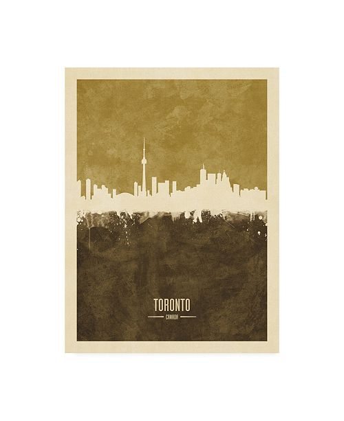 "Trademark Global Michael Tompsett Toronto Canada Skyline Brown Canvas Art - 15.5"" x 21"""