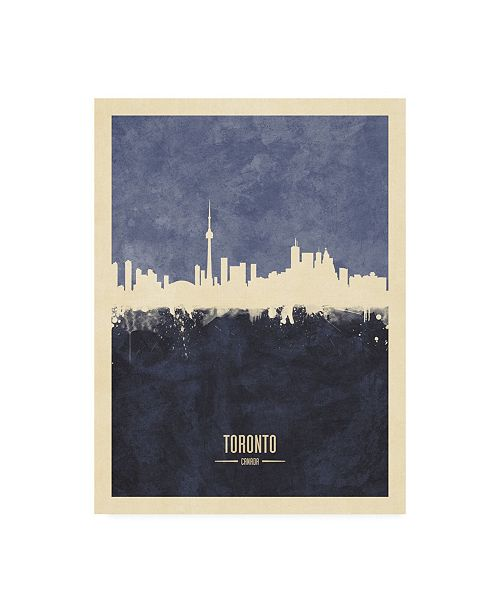 "Trademark Global Michael Tompsett Toronto Canada Skyline Navy Canvas Art - 27"" x 33.5"""