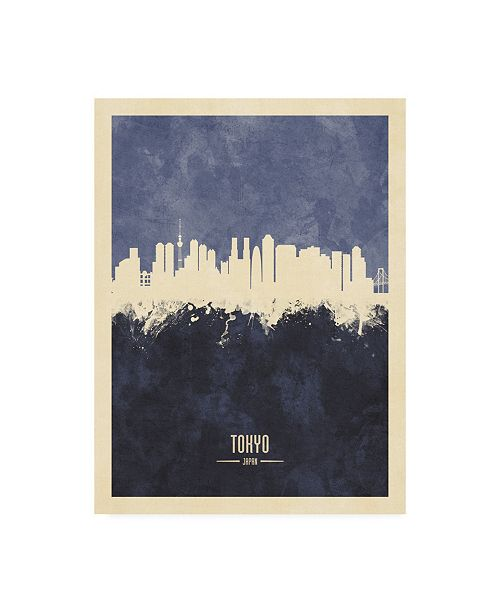 "Trademark Global Michael Tompsett Tokyo Japan Skyline Navy Canvas Art - 27"" x 33.5"""