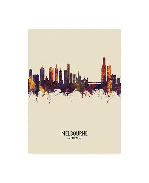 "Trademark Global Michael Tompsett Melbourne Australia Skyline Portrait III Canvas Art - 36.5"" x 48"""