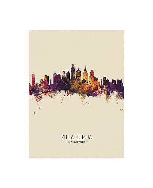 "Trademark Global Michael Tompsett Philadelphia Pennsylvania Skyline Portrait III Canvas Art - 36.5"" x 48"""