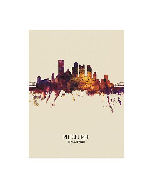 "Trademark Global Michael Tompsett Pittsburgh Pennsylvania Skyline Portrait III Canvas Art - 36.5"" x 48"""