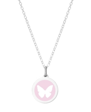 Mini Butterfly Pendant Necklace in Sterling Silver and Enamel
