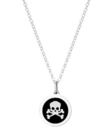 "Mini Skull Pendant Necklace in Sterling Silver and Enamel, 16"" + 2"" Extender"