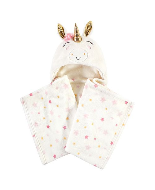 Luvable Friends Hooded Plush Blanket, Cream Unicorn