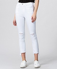 Ultra High Rise Raw Step Hem Slim Crop Straight Jeans