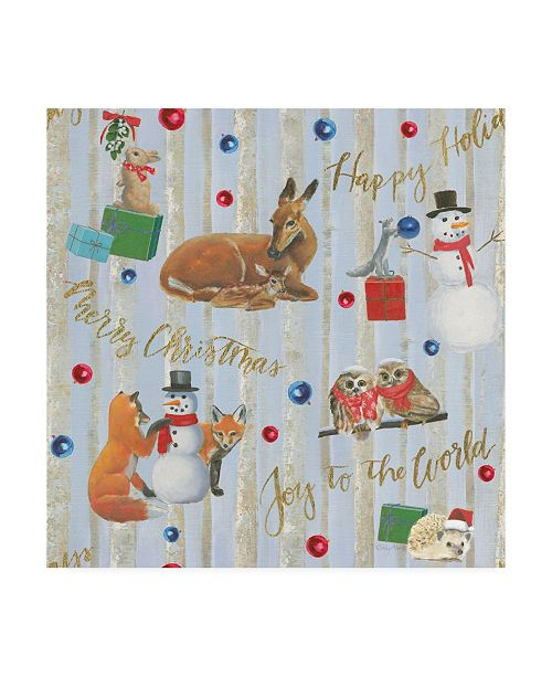 "Trademark Global Emily Adams Christmas Critters Bright Pattern IVA Canvas Art - 19.5"" x 26"""