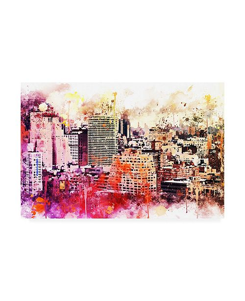"Trademark Global Philippe Hugonnard NYC Watercolor Collection - Manhattan District Canvas Art - 36.5"" x 48"""