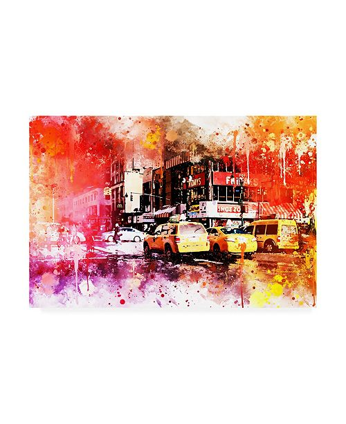 """Trademark Global Philippe Hugonnard NYC Watercolor Collection - Manhattan Taxis Canvas Art - 27"""" x 33.5"""""""