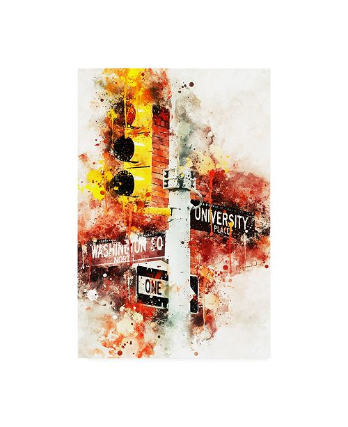 "Trademark Global Philippe Hugonnard NYC Watercolor Collection - Manhattan Signs Canvas Art - 36.5"" x 48"""