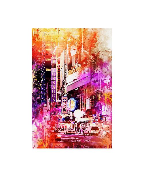 "Trademark Global Philippe Hugonnard NYC Watercolor Collection - Times Square by Night Canvas Art - 15.5"" x 21"""