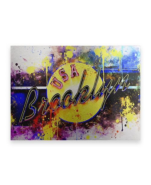 """Trademark Global Philippe Hugonnard NYC Watercolor Collection - Yellow Brooklyn Floating Brushed Aluminum Art - 21"""" x 25"""""""